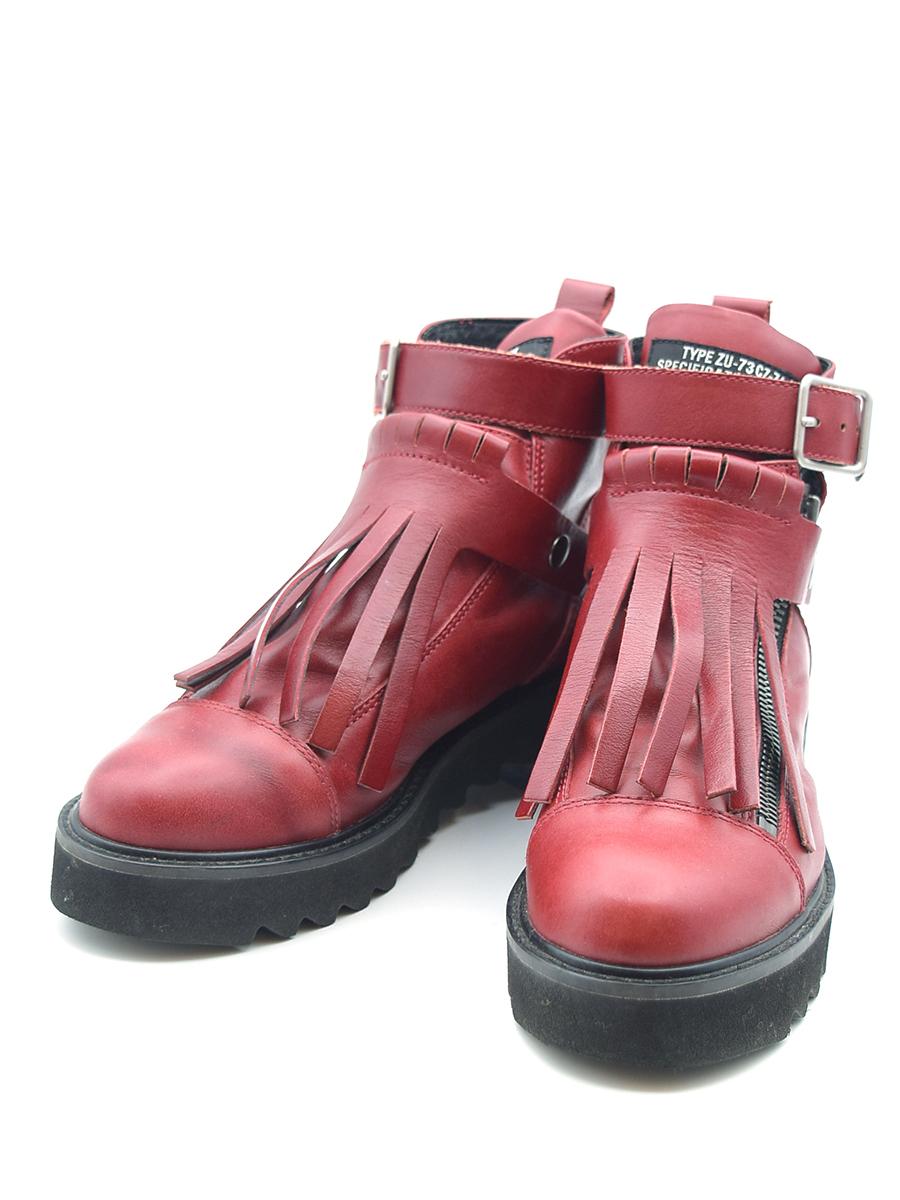 【中古】ZUCCA ズッカ フリンジデザインレザーブーツ 靴 レッド M(24.5cm程度) レディース