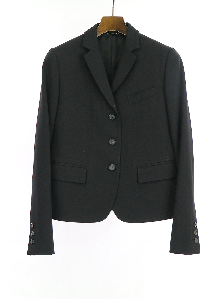 【中古】GUCCI グッチ ステッチデザイン3Bテーラードジャケット ブラック 40 レディース