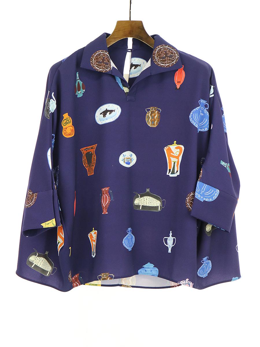 【中古】TARO HORIUCHI タロウ ホリウチ 17SS ドルマンスリーブスキッパーシャツ ネイビー F レディース