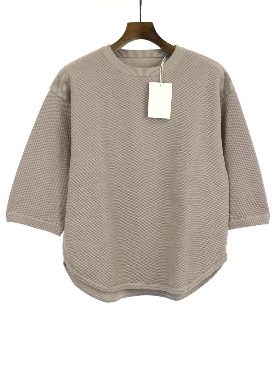 【中古】crepuscule クレプスキュール 19SS 7s round knit 七分袖ニットTシャツ グレーベージュ F レディース