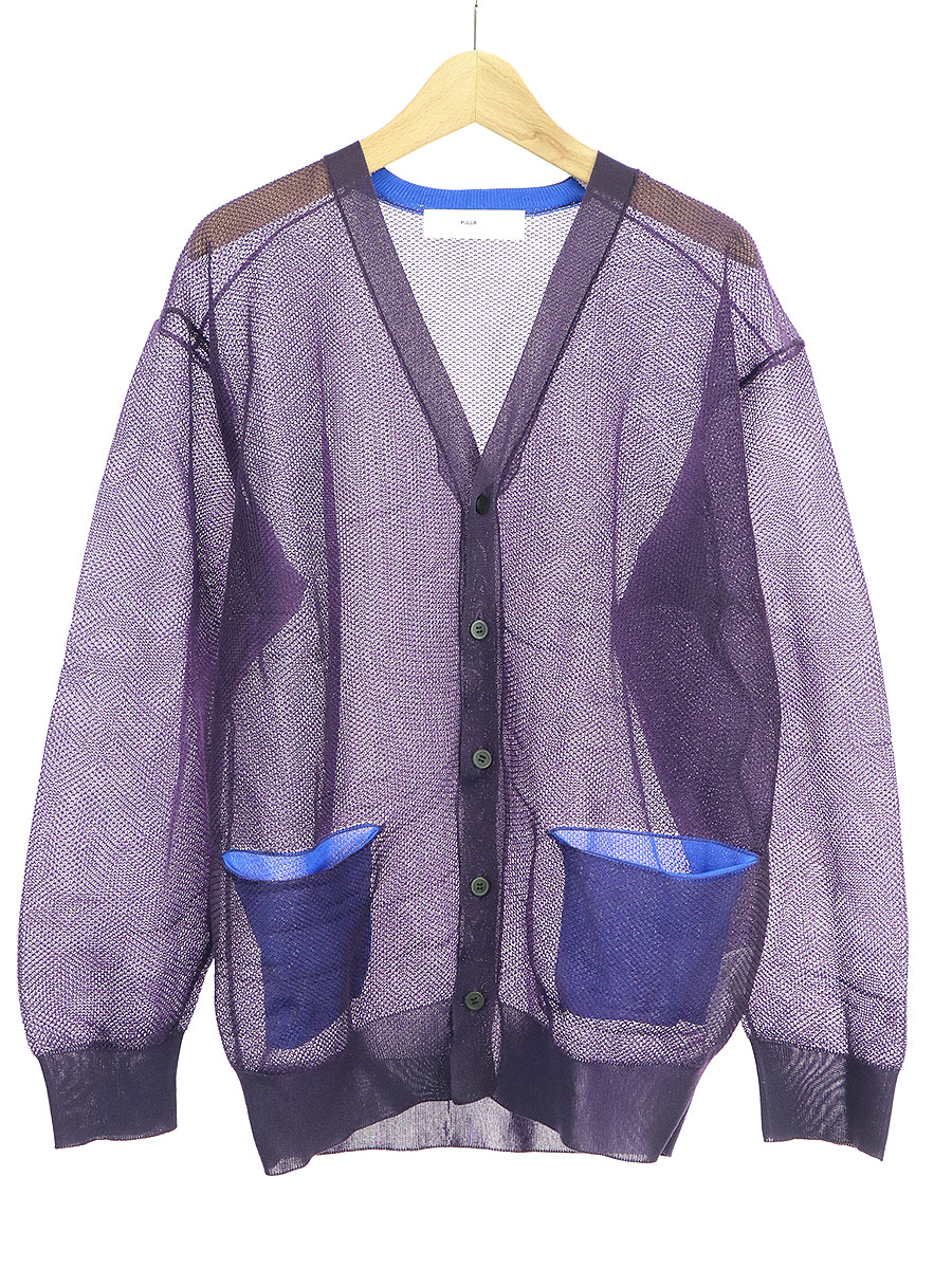 【中古】TOGA PULLA トーガ プルラ 19SS Sheer knit cardigan シースルーニットカーディガン パープル 38 レディース