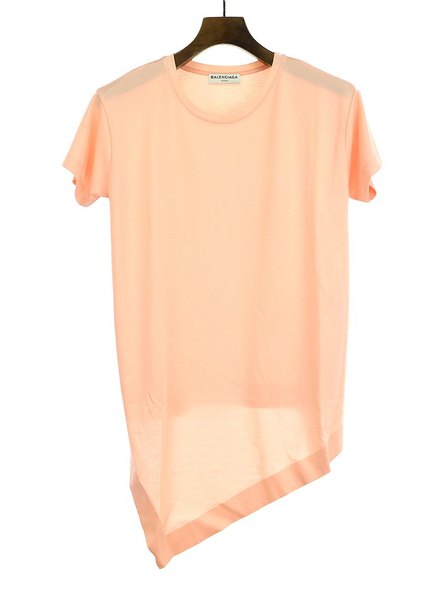 【中古】BALENCIAGA バレンシアガ アシンメトリーTシャツ ピンク XS レディース