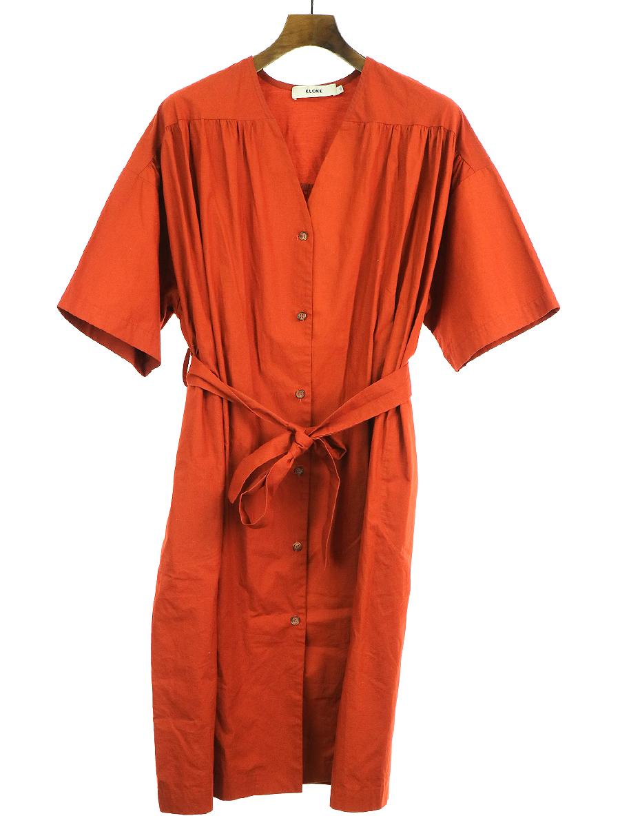 【中古】KLOKE クローク 19SS ノーカラーシャツスモックワンピース コート オレンジ XS レディース