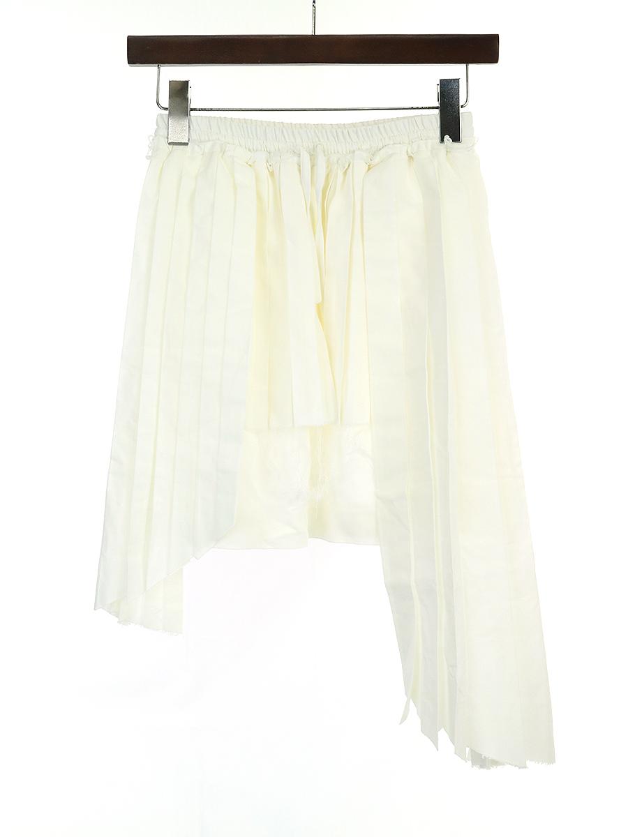 【中古】OFF-WHITE オフホワイト 16SS パネルプリーツビスコーススカート ホワイト XS レディース