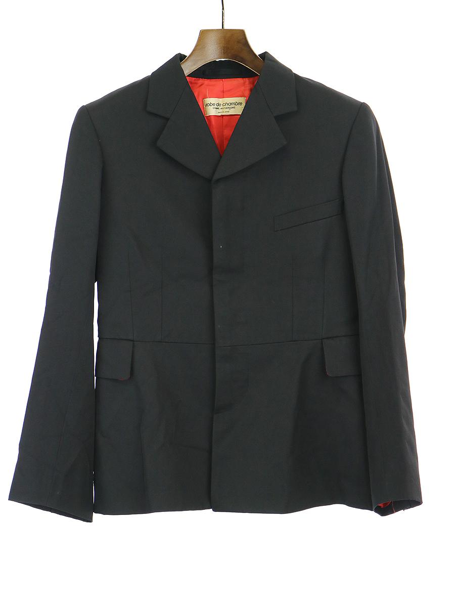 【中古】robe de chambre COMME des GARCONS ローブドシャンブル コムデギャルソン AD1998 90's メタルボタン比翼ジャケット ブラック レディース