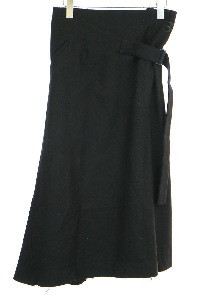 【中古】Y-3 ワイスリー 17AW ウールナイロンベルテッドスカート ブラック XXS レディース