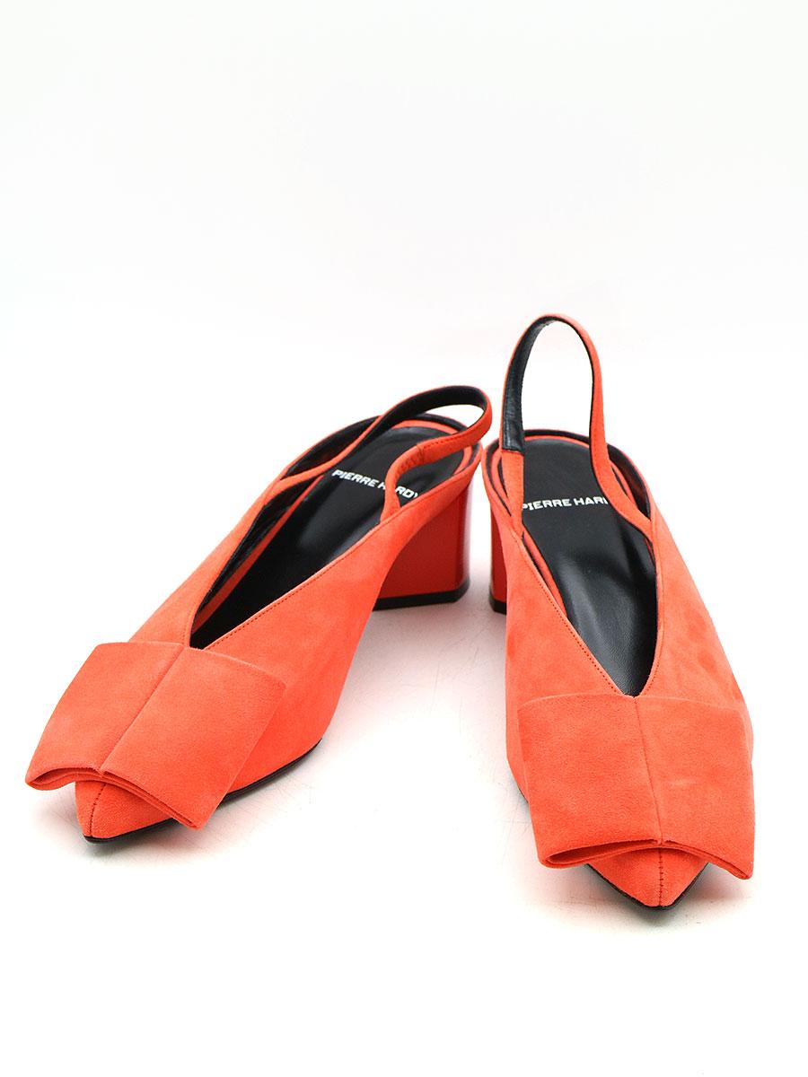 【中古】PIERRE HARDY ピエールアルディー リボンパンプス オレンジ 37(23.5cm程度) レディース