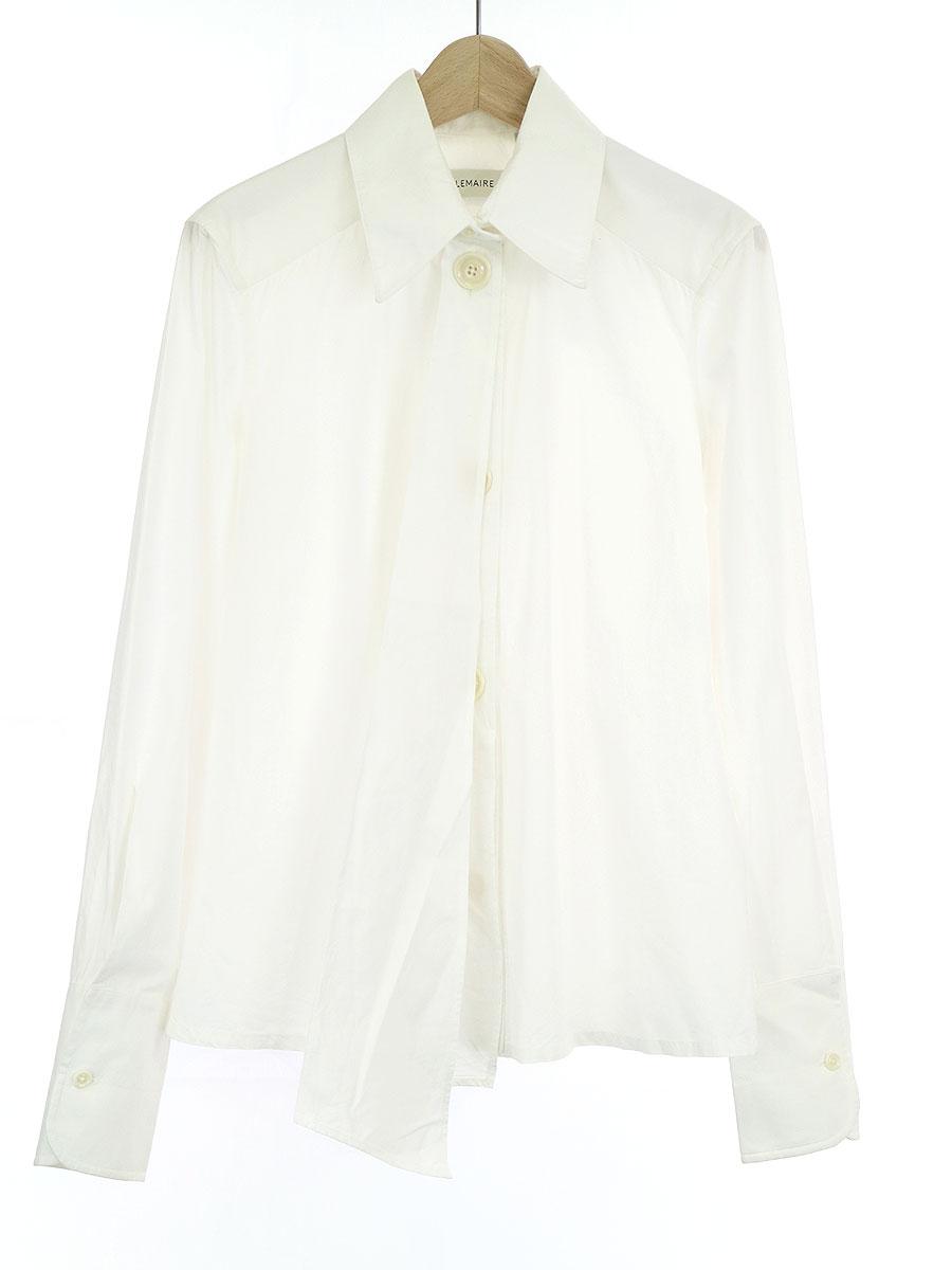 【中古】LEMAIRE ルメール コットンブロードアシンメトリーフォールドシャツ ホワイト 34 レディース