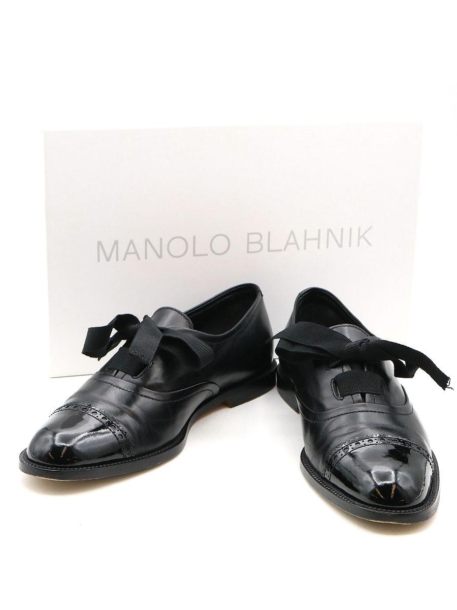 【中古】MANOLO BLAHNIK マノロブラニク 19AW ストレートチップレザーシューズ 靴 ブラック 36(23cm程度) レディース