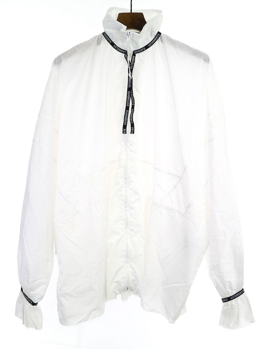 【中古】VETEMENTS ヴェトモン リボンデザインナイロンジップアップジャケット ホワイト L レディース