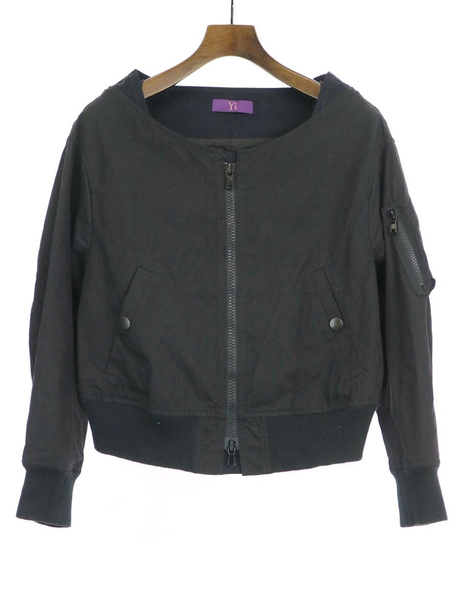 【中古】Y's Pink Label ワイズ ピンクレーベル 14SS コットンナイロンボンバージャケット ブラック 1 レディース