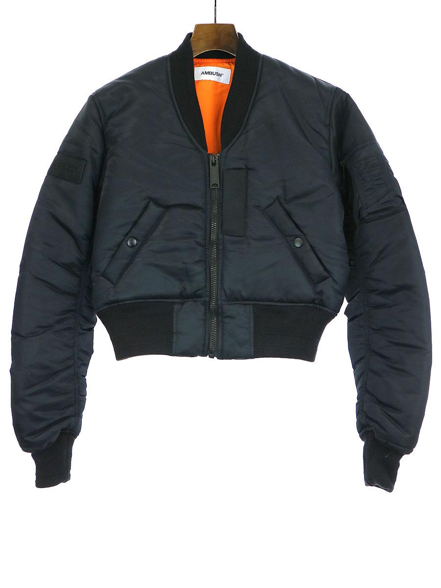 【中古】AMBUSH アンブッシュ 19AW ロゴパッチクロップドボンバージャケット ブラック 1 レディース