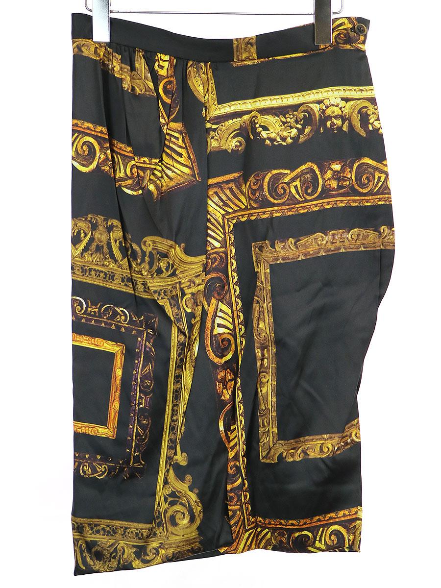 【中古】Vivienne Westwood ヴィヴィアンウエストウッド 16SS BLACK LIDIA MIDI SKIRT サテンスカート ブラック 10 レディース