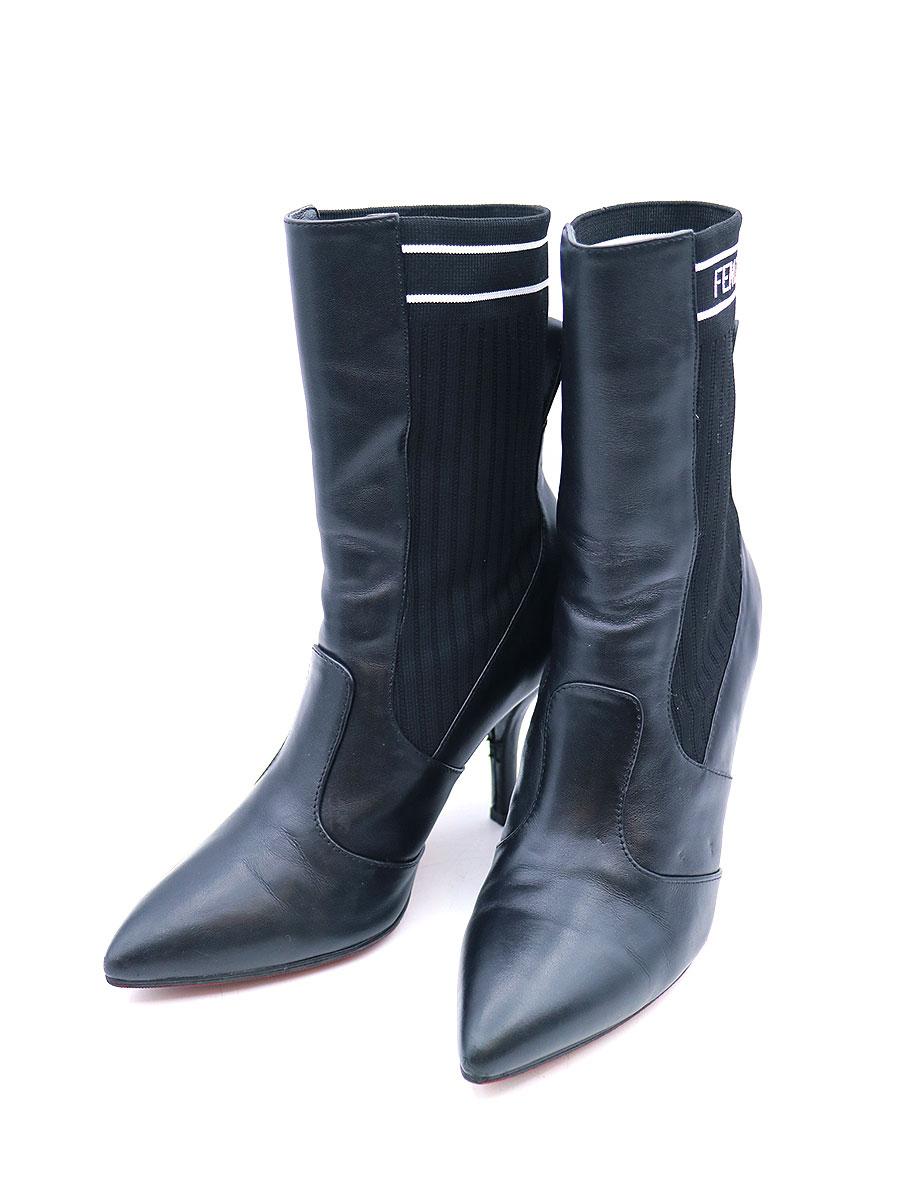 【中古】FENDI フェンディ ROCKOKO boots ロココ ソックスヒールブーツ ブラック 37(23.5cm程度) レディース