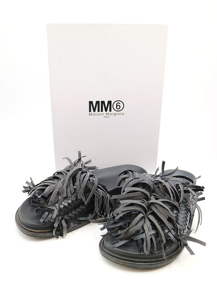 【中古】MM6 エムエムシックス 18SS フリンジデザインレザーサンダル ブラック 38(24.5cm程度) レディース