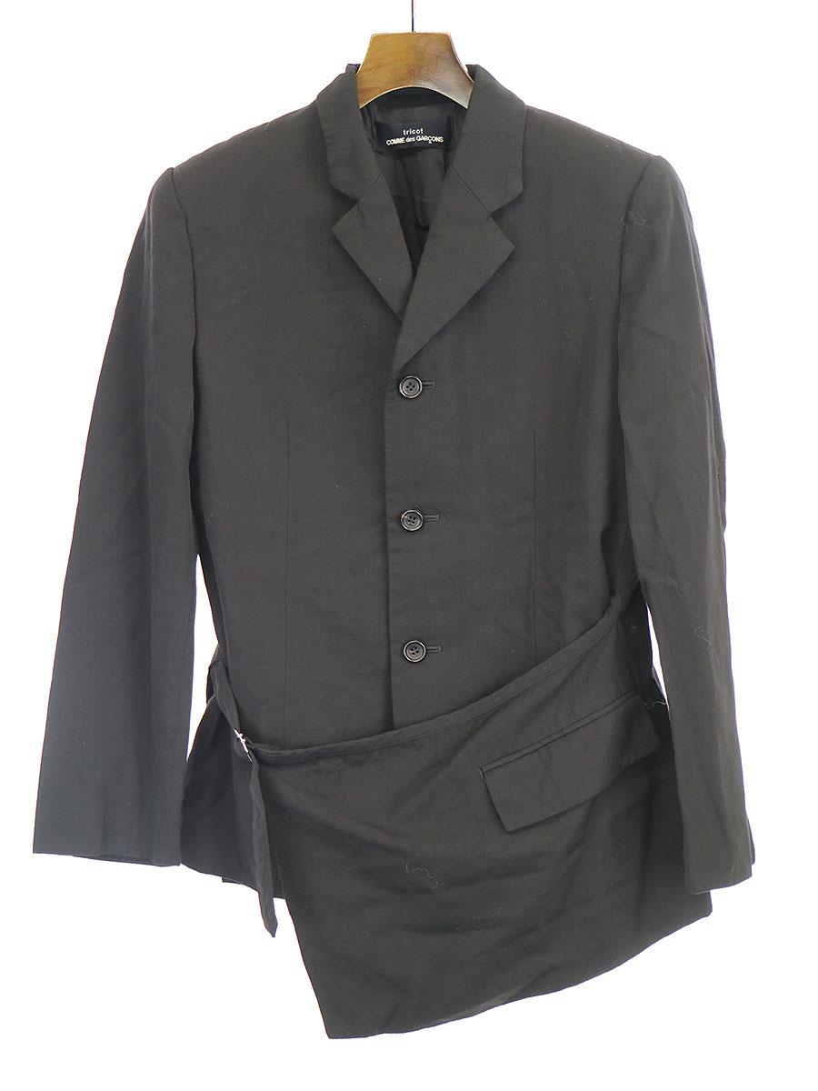 【中古】tricot COMME des GARCONS トリコ コムデギャルソン 1998年 エプロンラップテーラードジャケット ブラック サイズ表記無し レディース