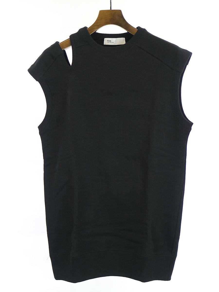 【中古】TOGA ARCHIVES トーガ アーカイブス 20SS Sweat cotton N/S スウェットコットンノースリーブ ブラック 36 レディース