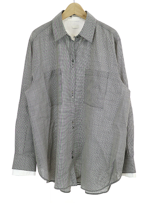 【中古】Rito リト 18AW DOUBLE LAYERED SHIRT ダブルレイヤードシャツ グレー 38 レディース
