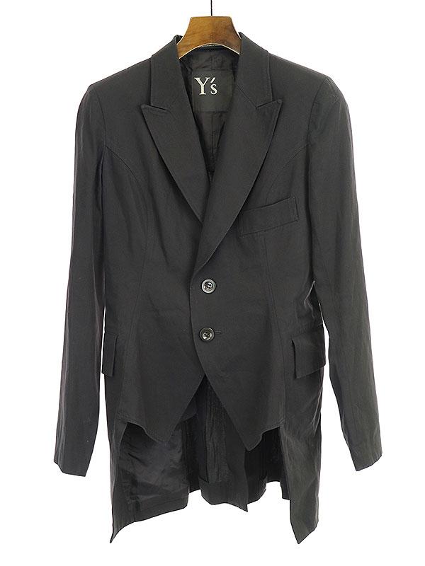 【中古】Y's ワイズ 18SS ジレディティールピークドラペルジャケット ブラック 1 レディース