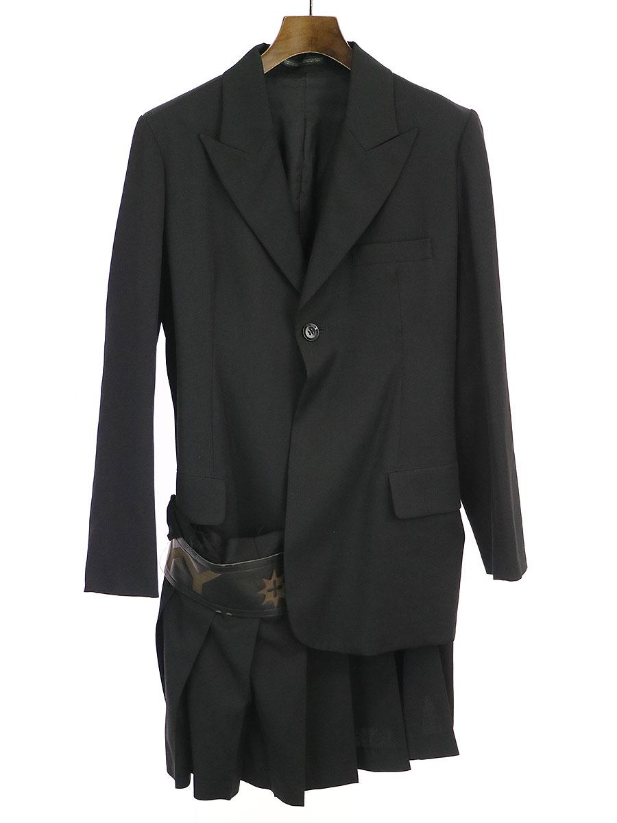 【中古】Yohji Yamamoto FEMME ヨウジヤマモトファム 07AW LOOK6 モノグラムレザーコンビスカートドッキングジャケット ブラック 1 レディース