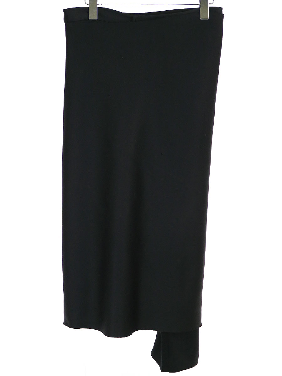 【中古】Yohji Yamamoto FEMME ヨウジヤマモトファム 01AW ポリエステルジャージーラップスカートドッキングパンツ ブラック 1 レディース