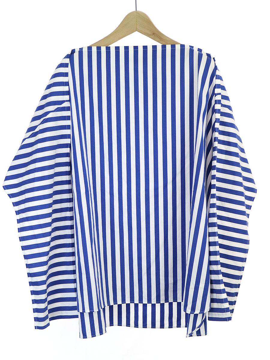 【中古】BLAMINK ブラミンク スクエアネックストライプシャツ ブルー 36 レディース