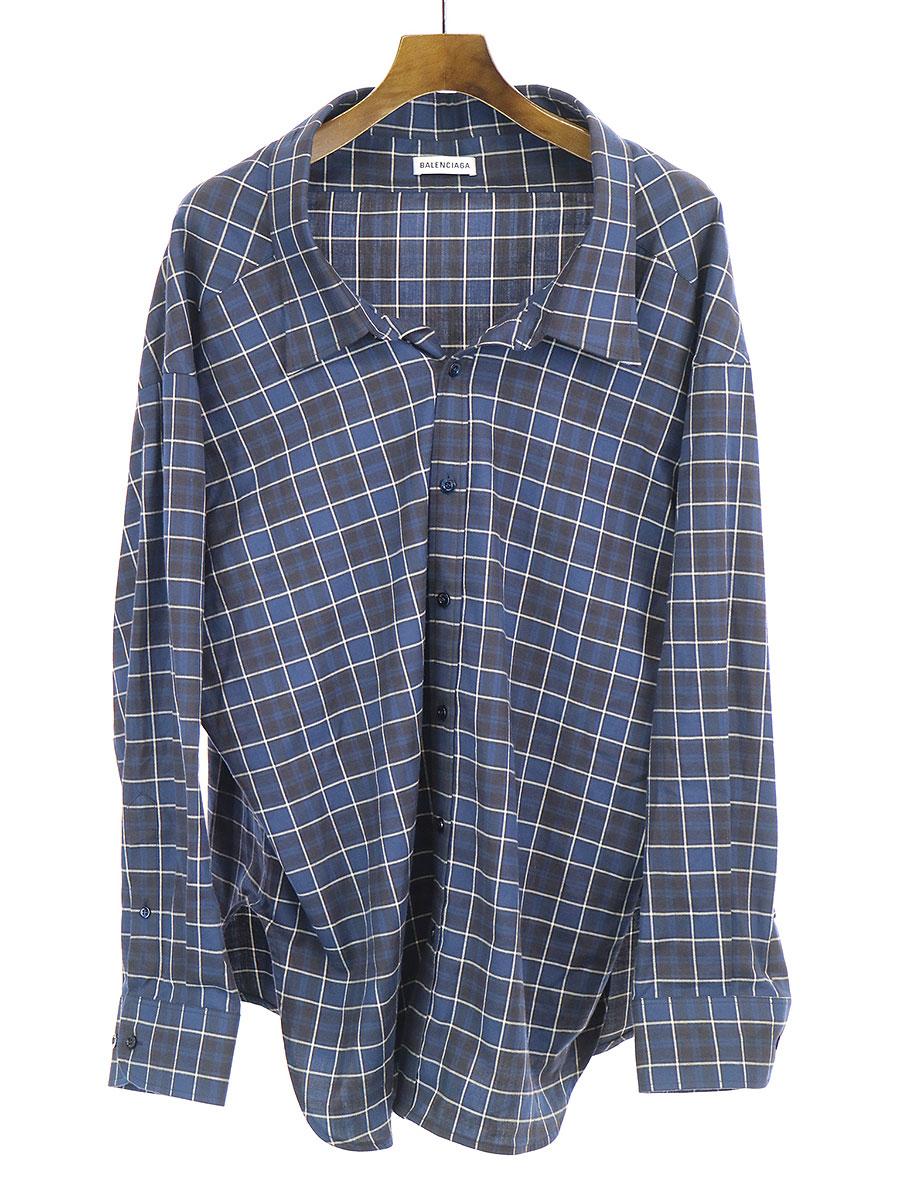 【中古】BALENCIAGA バレンシアガ 18SSオーバーサイズチェックシャツ ネイビー 34 レディース