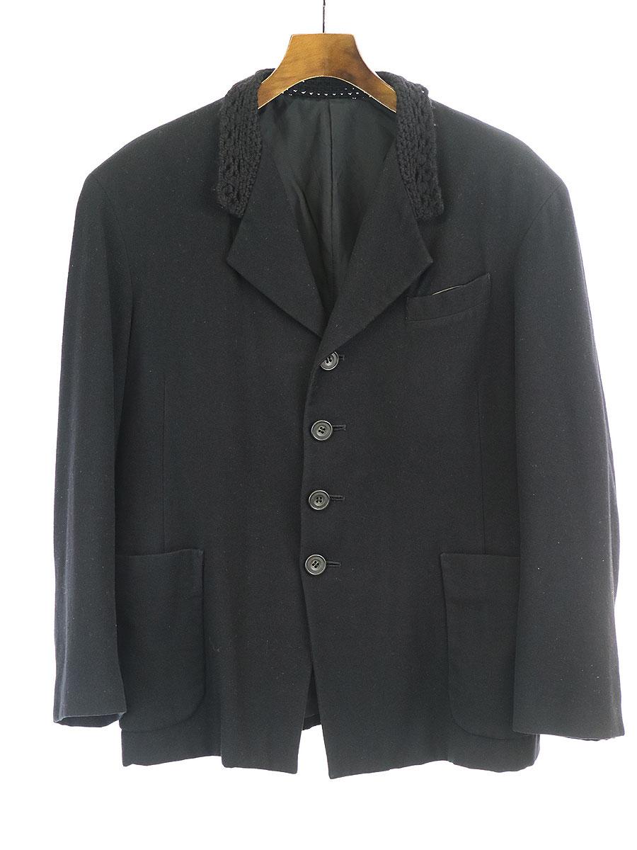 【中古】Y's ワイズ 90's 鉤編みニットカラーウールテーラードジャケット ブラック サイズ表記無し レディース