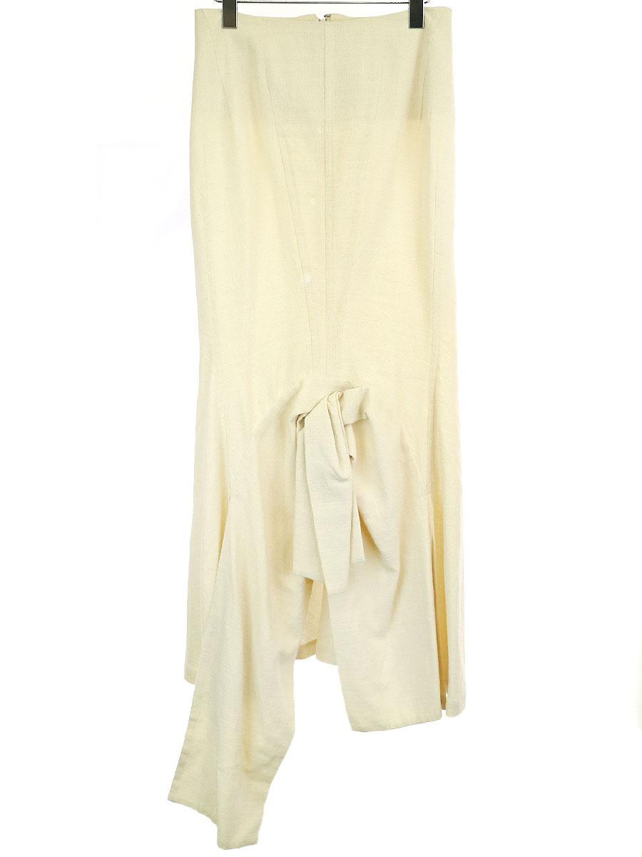 【中古】Yohji Yamamoto FEMME ヨウジヤマモト ファム 98SS デザインロングスカート ベージュ XS レディース