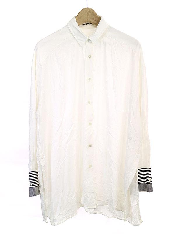 中古 店 Acne Studios アクネストゥディオズ 売れ筋 14SS 袖切替レーヨンシャツ 34 レディース ホワイト