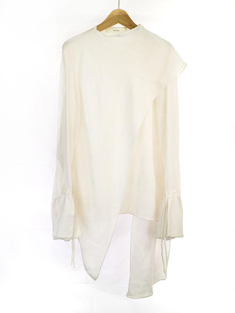中古 CYCLAS 予約 シクラス 19AW LOOK2 割り引き 36 ホワイト シルクドッキングデザインシャツブラウス レディース