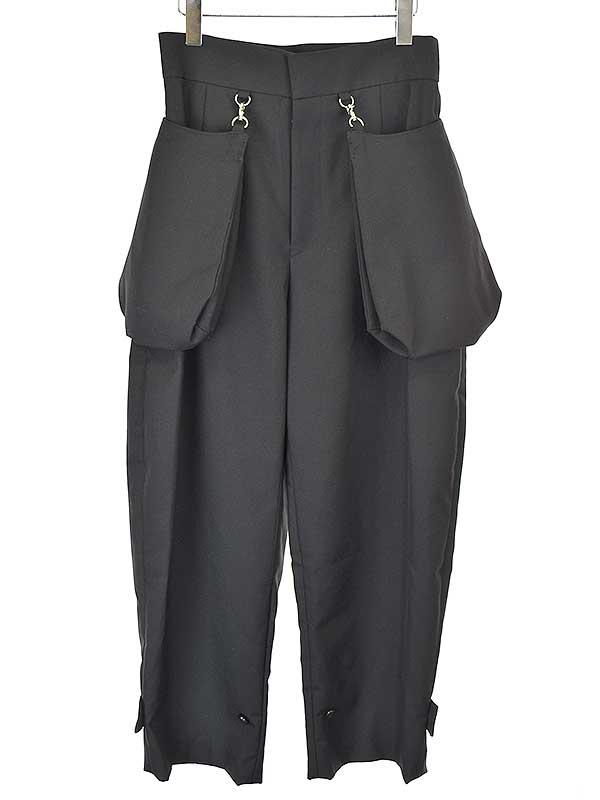 お値段見直しました 2021年7月24日値下げ品 中古 noir kei プレゼント ninomiya 商品追加値下げ在庫復活 ノワール ブラック ケイ ニノミヤ 20SS レディース M ポケット装飾ウールポリエステルツイルワイドパンツ