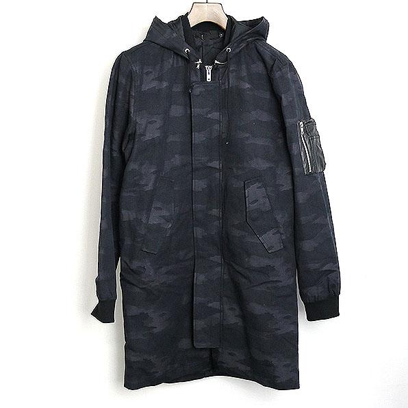 BLK DNM ブラックデニム 中綿迷彩ボンバーロングコート ブラック S【中古】
