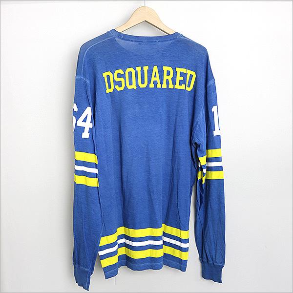 DSQUARED2 disukueado 10AW HOCKEY purintorongusuribu T恤蓝色L