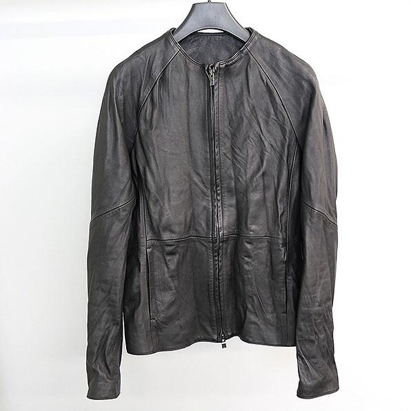 wjk ダブルジェイケイ 15AW simple riders シープスキンノーカラーレザージャケット ブラック M【中古】