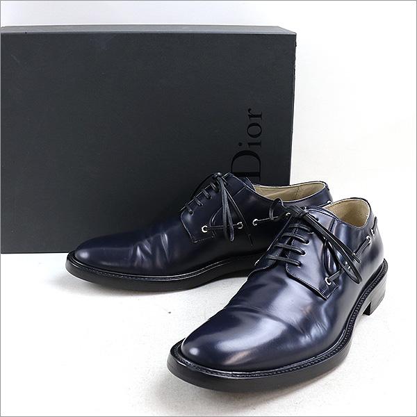 Dior HOMME ディオールオム 15SS ハトメレースデザインプレーントゥシューズ/43/NVY NVY 43 28cm【中古】