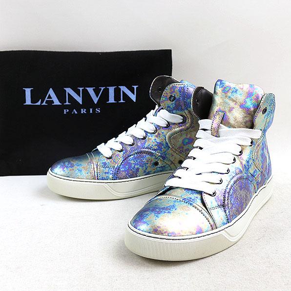 LANVIN ランバン 15SS メタリックハイカットレザースニーカー ブルー UK5(24cm程度)【中古】