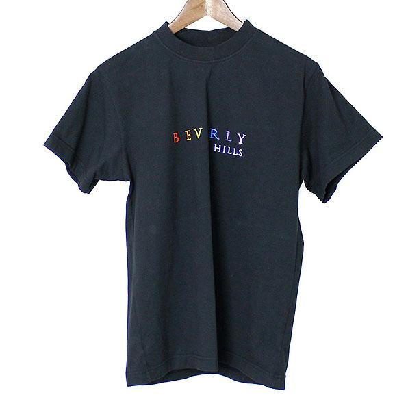 VETEMENTS ヴェトモン 17SS LA MAXFIELD限定BEV.HILLSロゴ刺繍Tシャツ ブラック S【中古】
