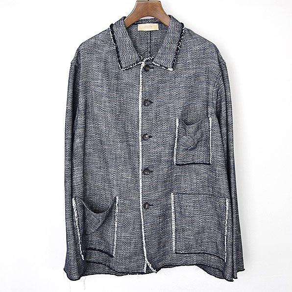 MAISON FLANEUR メゾンフラネウール 17SS Fringe Work Jacket ワークジャケット ネイビー 56【中古】