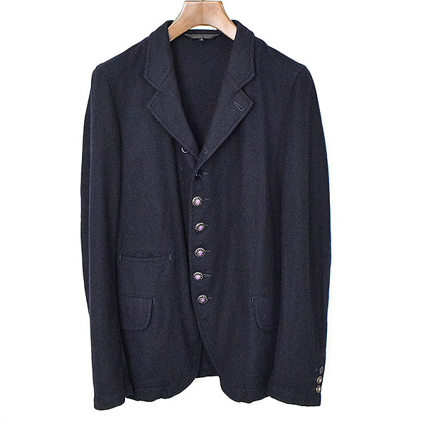 COMME des GARCONS HOMME PLUS コムデギャルソンオムプリュス 12AW装飾ボタンテーラードジャケット ネイビー S【中古】