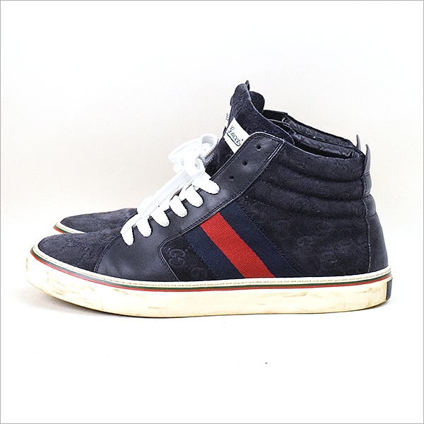 GUCCI古驰SUEDE HI-TOP LACE-UP SNEAKERS比赛提高运动鞋混合物8(27cm左右)