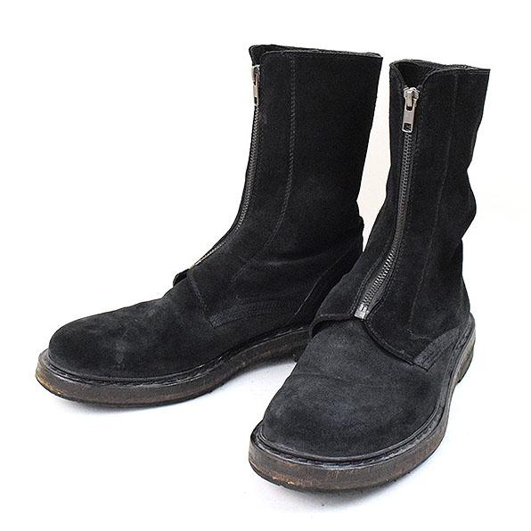 ANN DEMEULEMEESTER アンドゥムルメステール 12AW フロントダブルジップレザーブーツ ブラック 41(26~26.5cm程度)【中古】