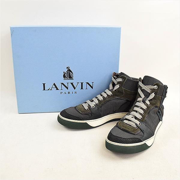 LANVIN ランバン 11AW マルチファブリックハイカットスニーカー カーキ 10(29cm程度)【中古】