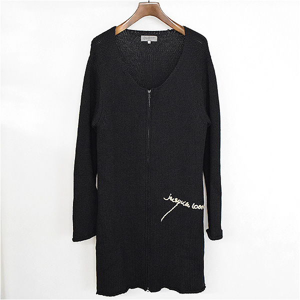 Yohji Yamamoto POUR HOMME ヨウジヤマモトプールオム 07AW ランウェイ着 メッセージ刺繍ノーカラーニットコート ブラック 3【中古】
