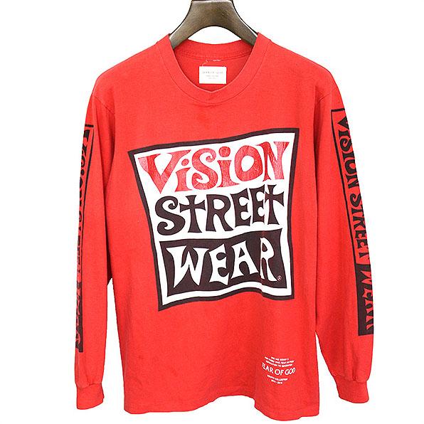 FEAR OF GOD フィアオブゴッド VISION STREET WEAR ヴィンテージロングスリーブTシャツ レッド 【中古】