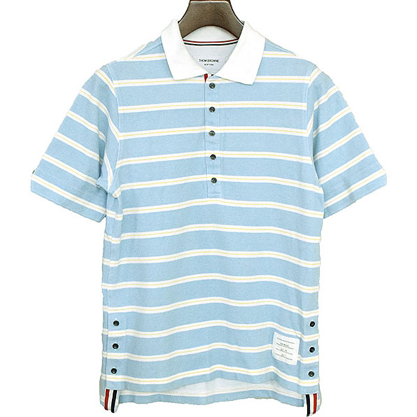 THOM BROWNE トムブラウン トリコロールテープボーダーポロシャツ サックス 0【中古】