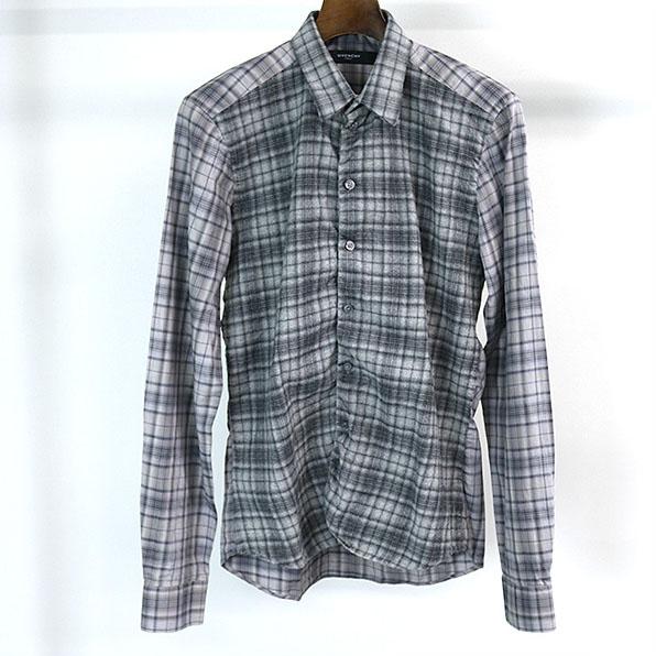 GIVENCHY ジバンシィ ウール切替チェックシャツ グレー 39【中古】