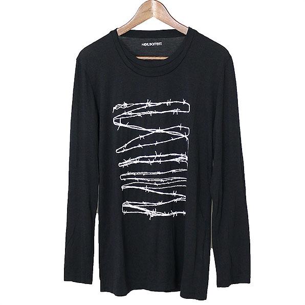 NEIL BARRETT ニールバレット 有刺鉄線刺繍レイヤードネックロングスリーブカットソー ブラック S【中古】