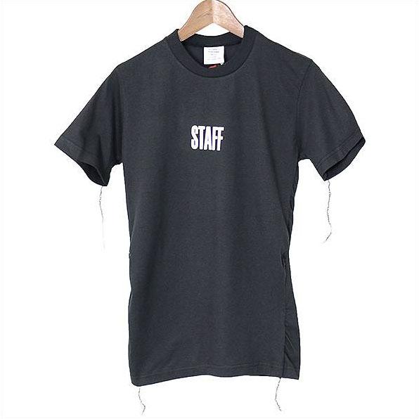 VETEMENTS ヴェトモン X Hanes 17SS STAFF COTTON T-SHIRTS 再構築プリントTシャツ ブラック XS【中古】