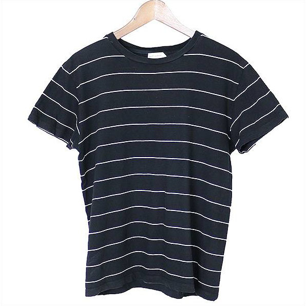 SAINT LAURENT PARIS サンローラン パリ ボーダーTシャツ ブラック M【中古】